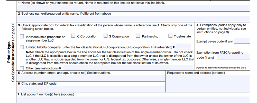 W-9 Form Personal Information
