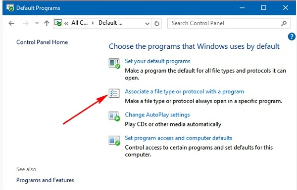 Windows 10 Control Panel Default Programs