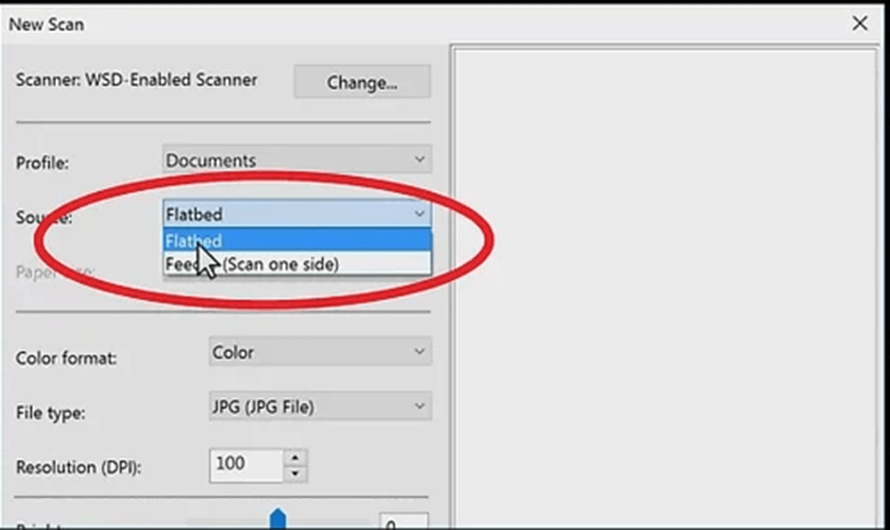 Windows Fax and Scan Choose Scanner Type