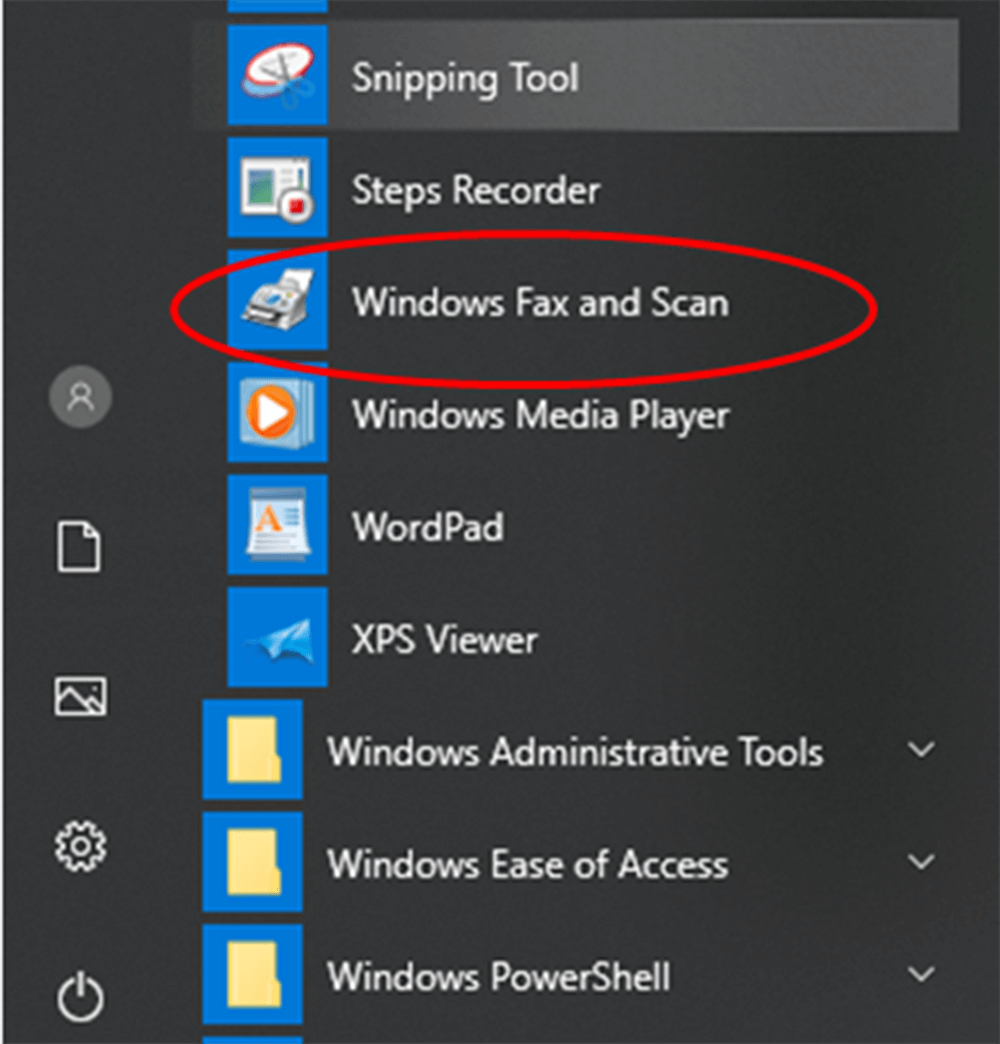 Windows Fax and Scan Tool