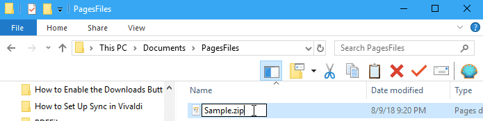 Pages Windows Rinomina zip