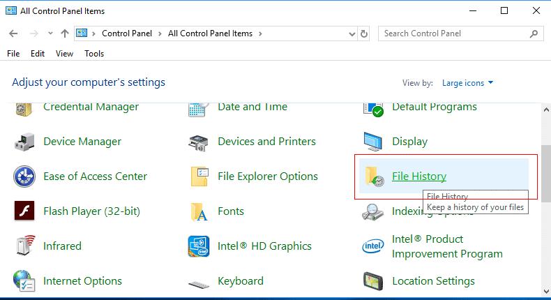 Windows System File History