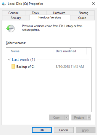 Windows System Previous Versions