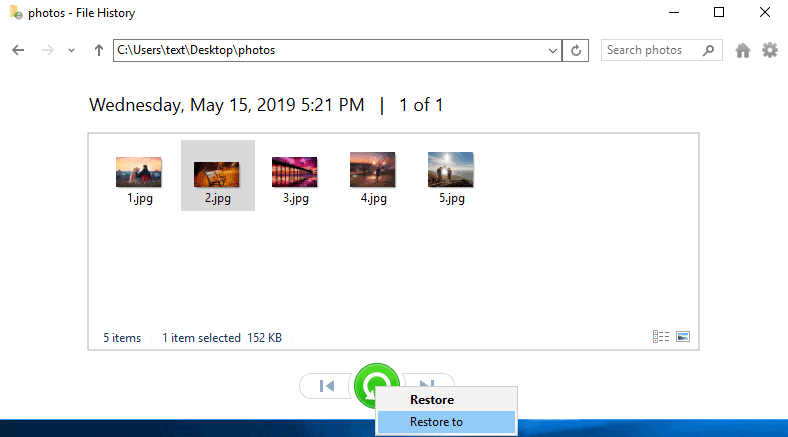 Windows System Recover-File History