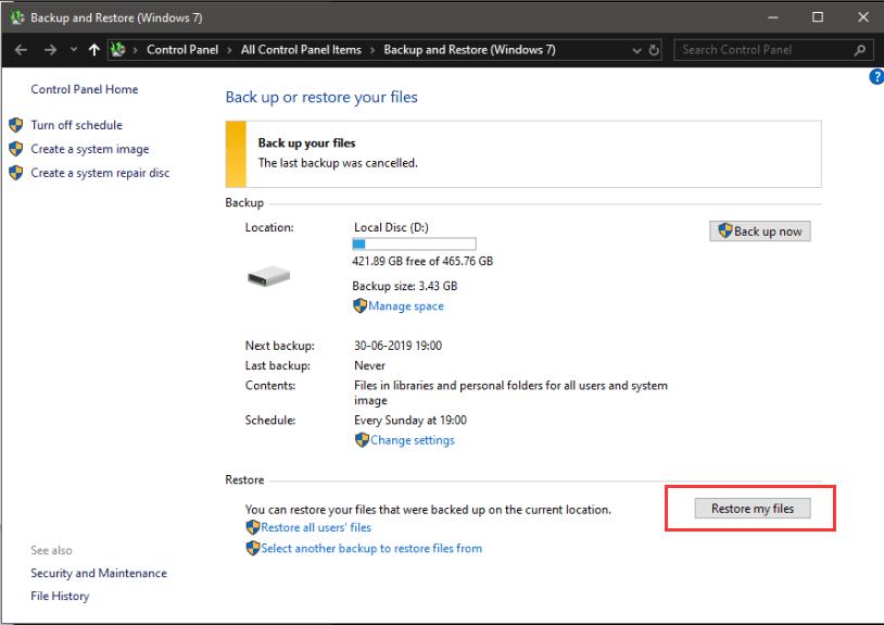 Ripristino configurazione di sistema di Windows I miei file