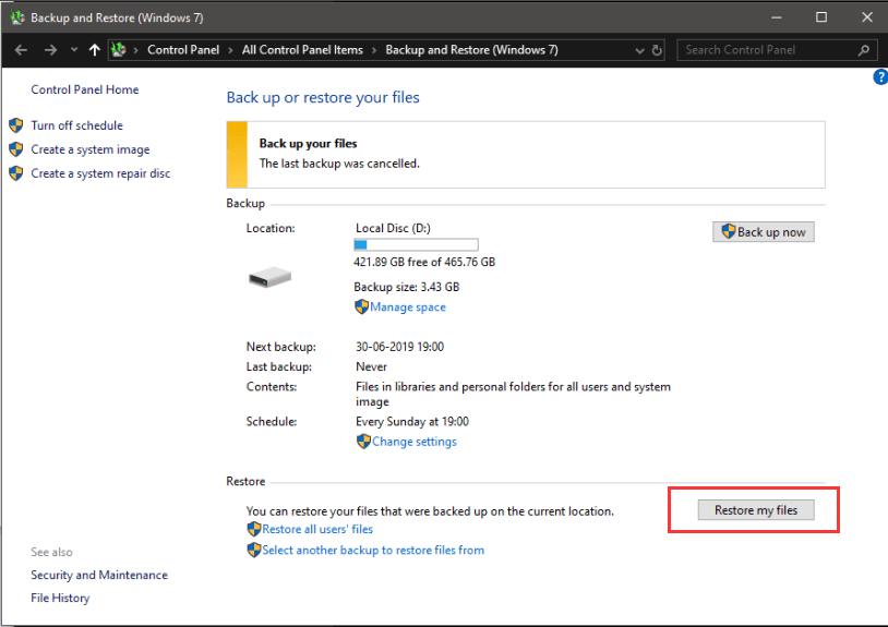 Windows System Restore My Files