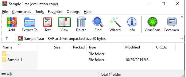 WinZip Extract RAR File