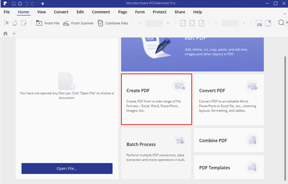 Wondershare PDFelement Crear PDF