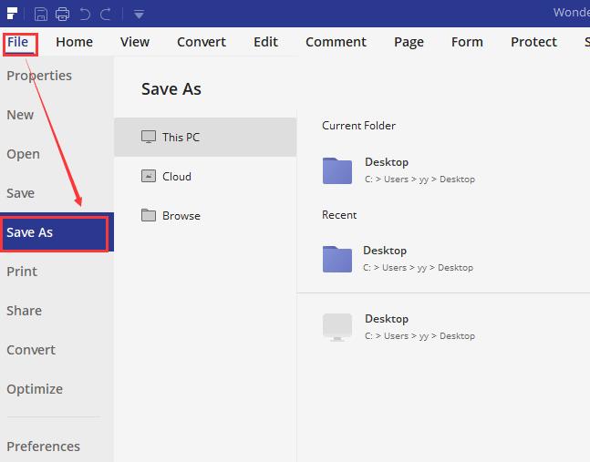 Wondershare PDFelement 파일 다른 이름으로 저장