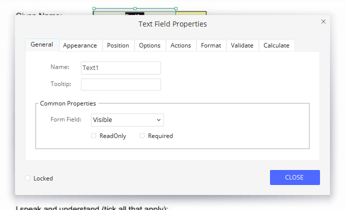 Wondershare PDFelement Text Field Properties