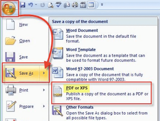 Microsoft Word 2007 Save As PDF XPS