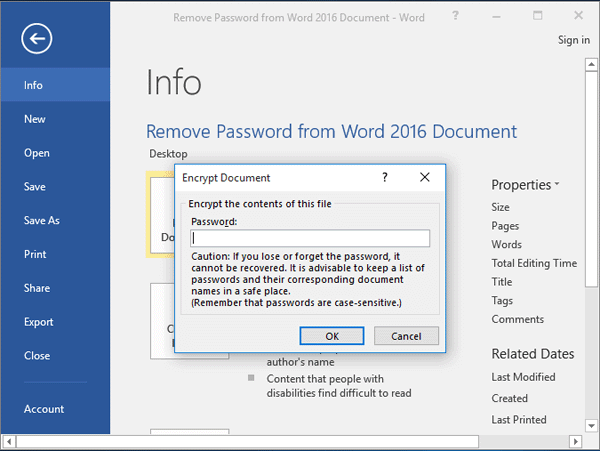Word Add Password to Document