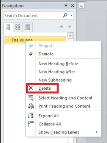 Word Navigation Pane Delete Part