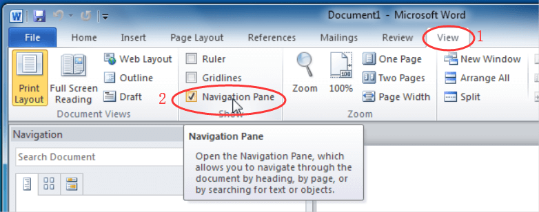 Word Navigation Pane