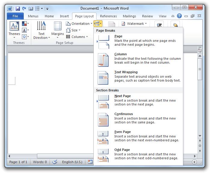 Word Page Layout Breaks