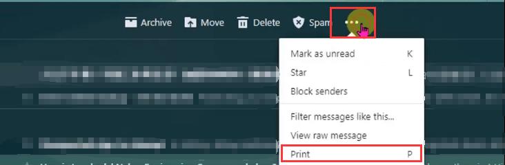 Yahoo Mail Print