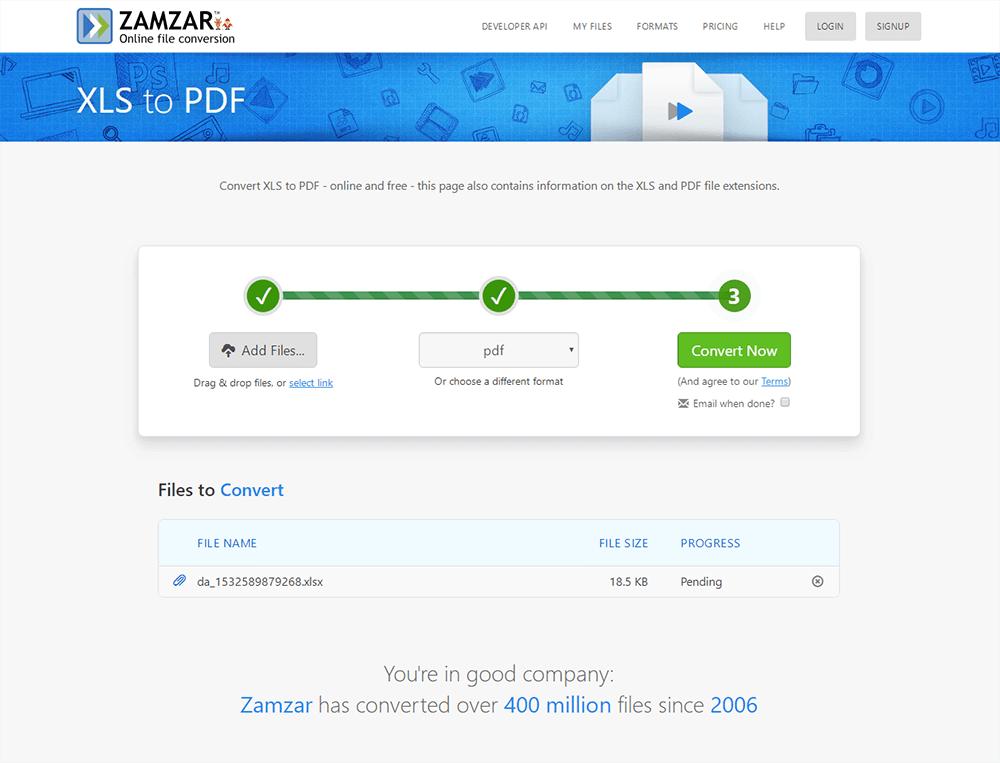 Zamzar Excel a PDF
