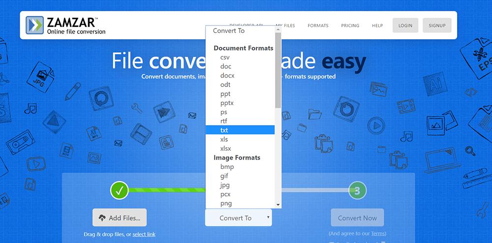 Página de inicio de Zamzar Seleccione Convertir formato