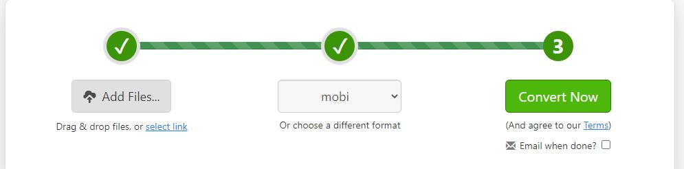 Zamzar PDF to MOBI Convert Now