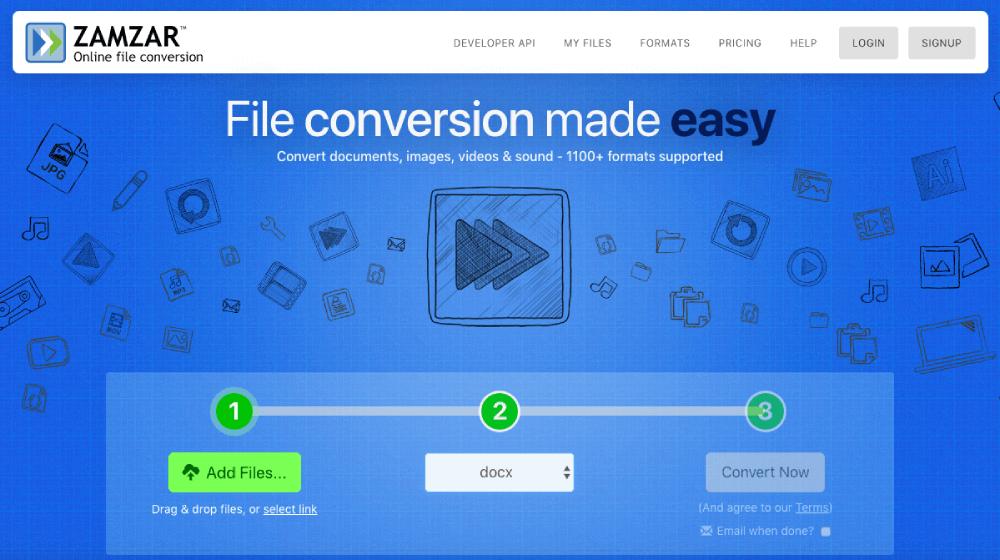Zamzar PDF to Word Converter Online