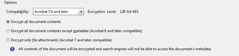 Opciones de Adobe Acrobat Encrypt Document
