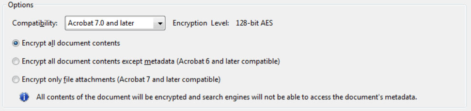 Adobe Acrobat Encrypt Document Options