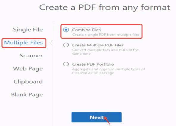 Adobe Acrobat Pro Create PDF From Multiple Files