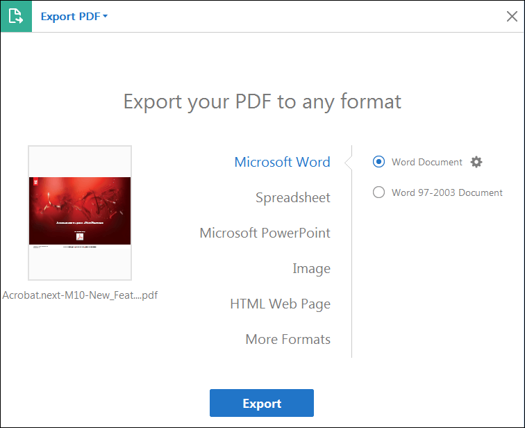 Adobe Acrobat Pro DC Choose Export Format