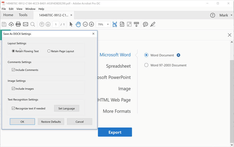 Adobe Save As Word Settings