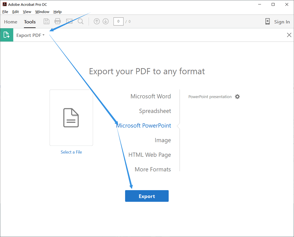 Adobe PDF to PPT Export