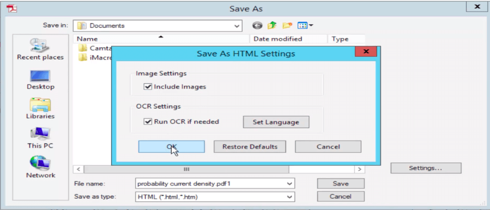 Adobe Acrobat Pro Save PDF As HTML Settings