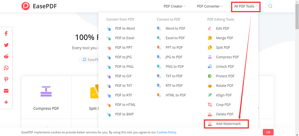 EasePDF All PDF Tools Add Watermark