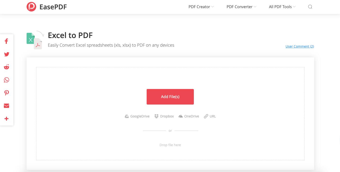 EasePDF Excel a caricamento PDF