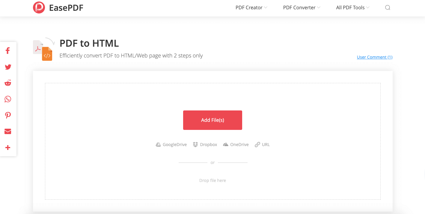EasePDF PDF to HTML Converter Upload