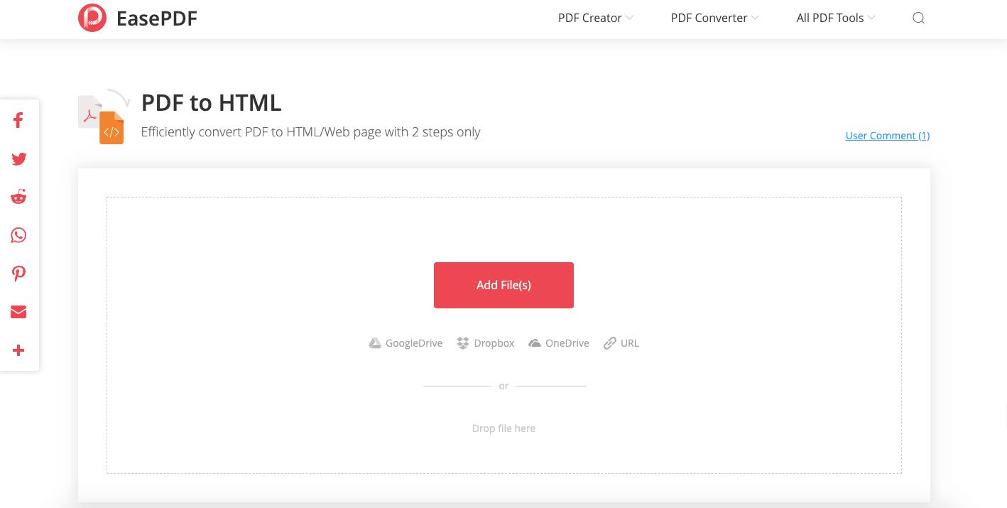 EasePDF PDF to HTML 변환기 업로드