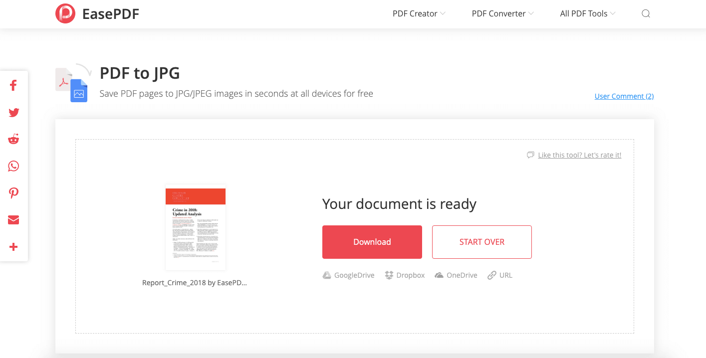 EasePDF PDF to JPG Download