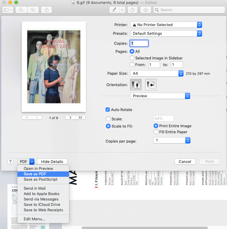 Mac Preview Immagini GIF Salva come PDF