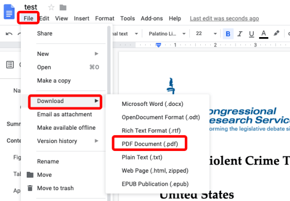 Google Docs Downoad Word As PDF