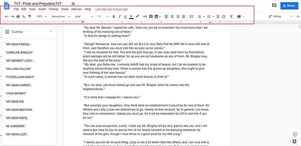 Google Docs TXT to PDF
