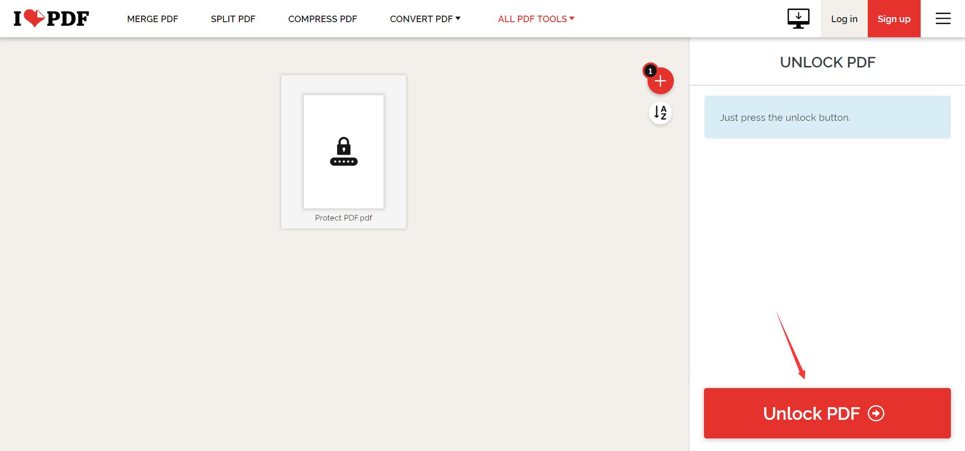 iLovePDF Unlock PDF