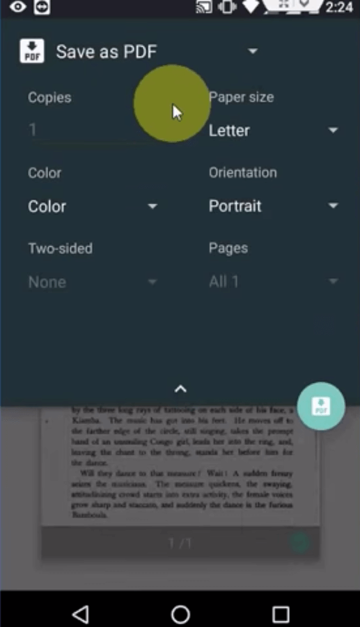 Android Photos PDF Settings