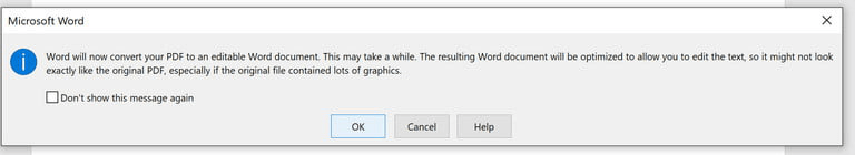 Microsoft Word 2016 Converting Warning