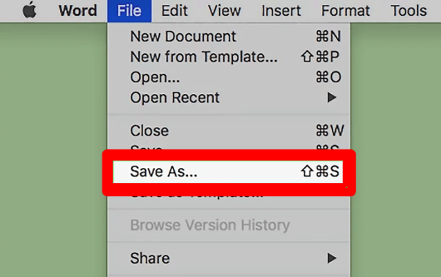 Word to PDF Office Mac Save As