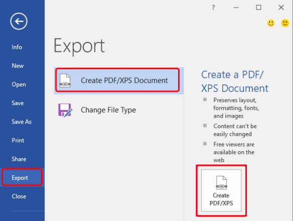 Word to PDF Office 2013 Export