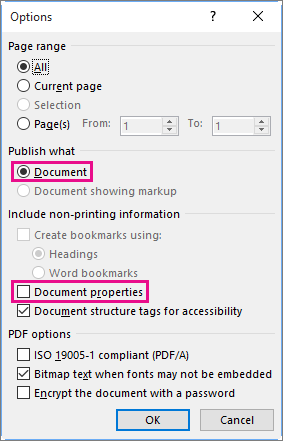 Word to PDF Office 2013 Export Options