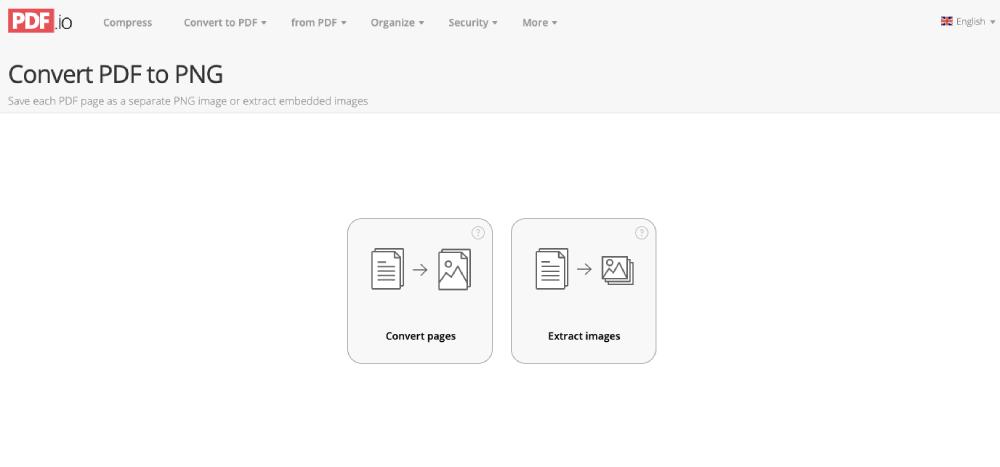 Opciones de conversión de PDF a PNG