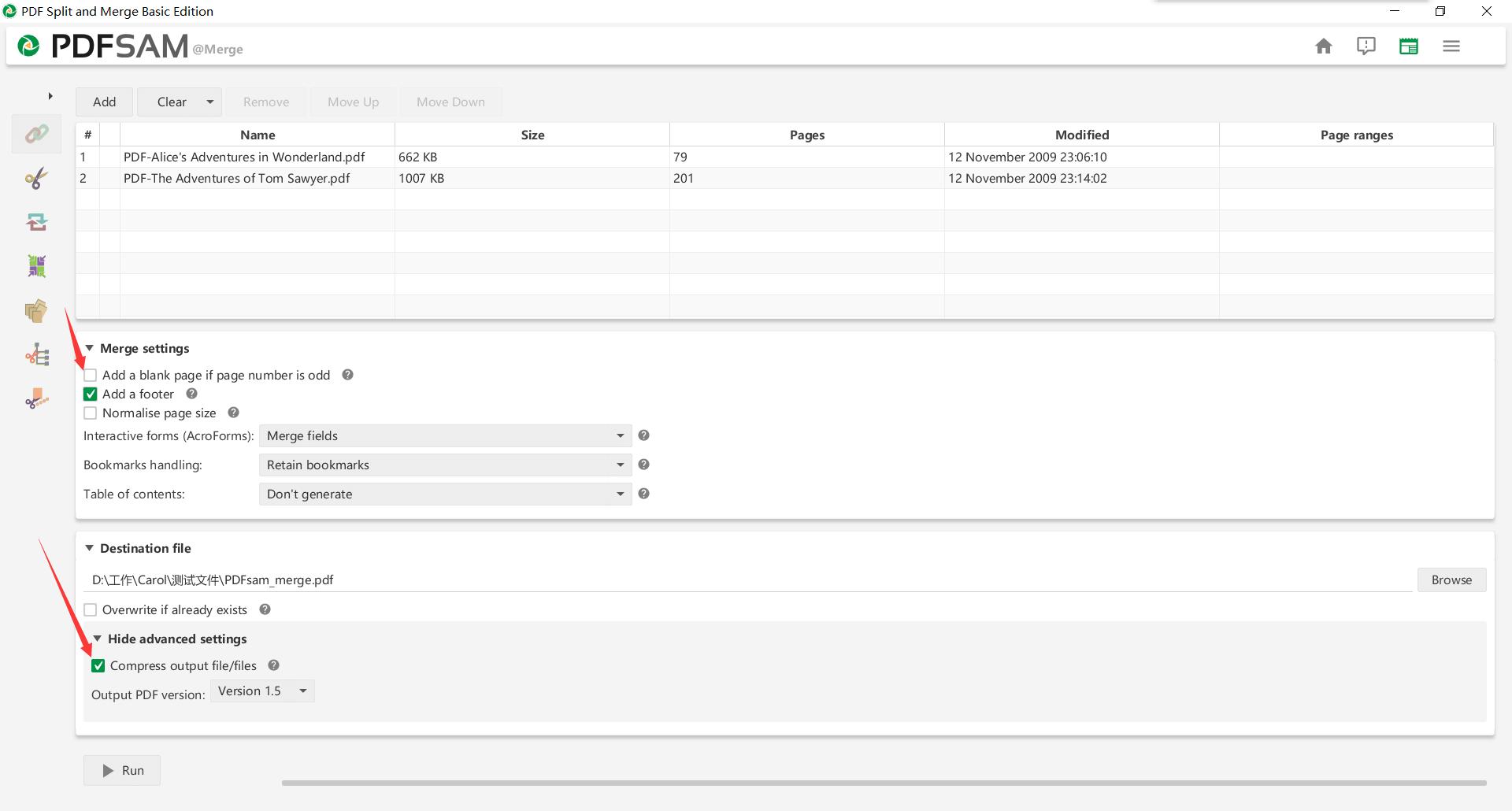 PDFsam Merge PDF Setting