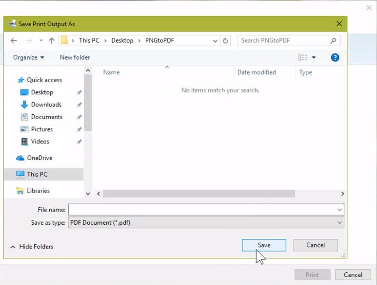 Microsoft Print to PDF Save As