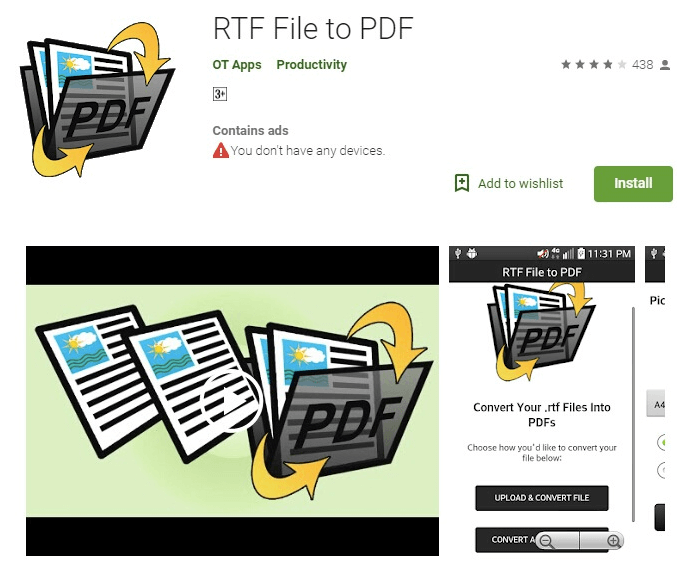 RTF File to PDF Andorid