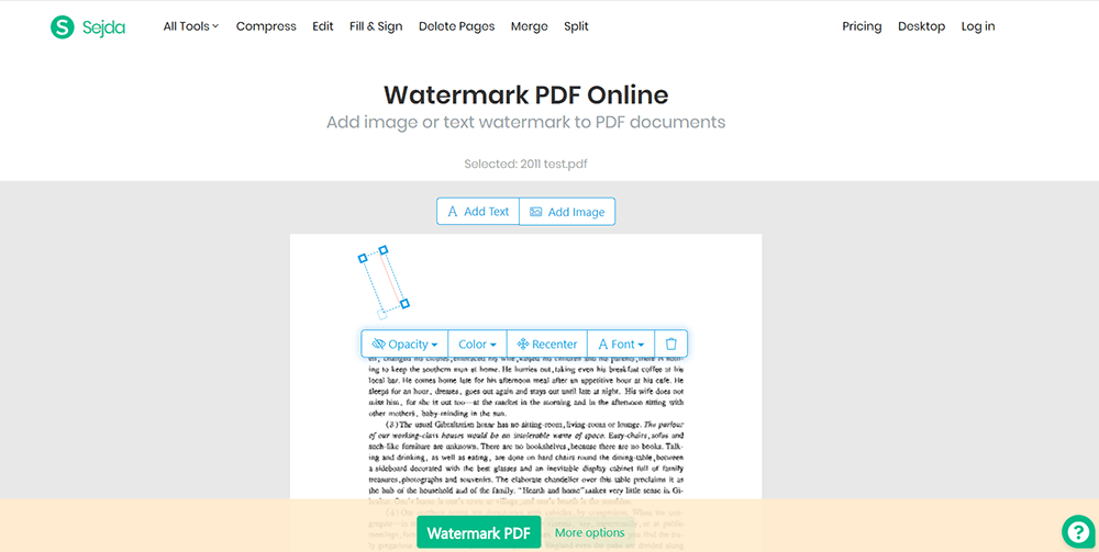 Sejda Watermark PDF Online Edit Watermark